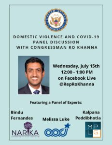 DV and Covid-19 Panel Discussion with Congressman Ro Khanna